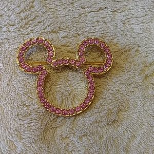 Pink Rhinestone Mickey Mouse Brooch
